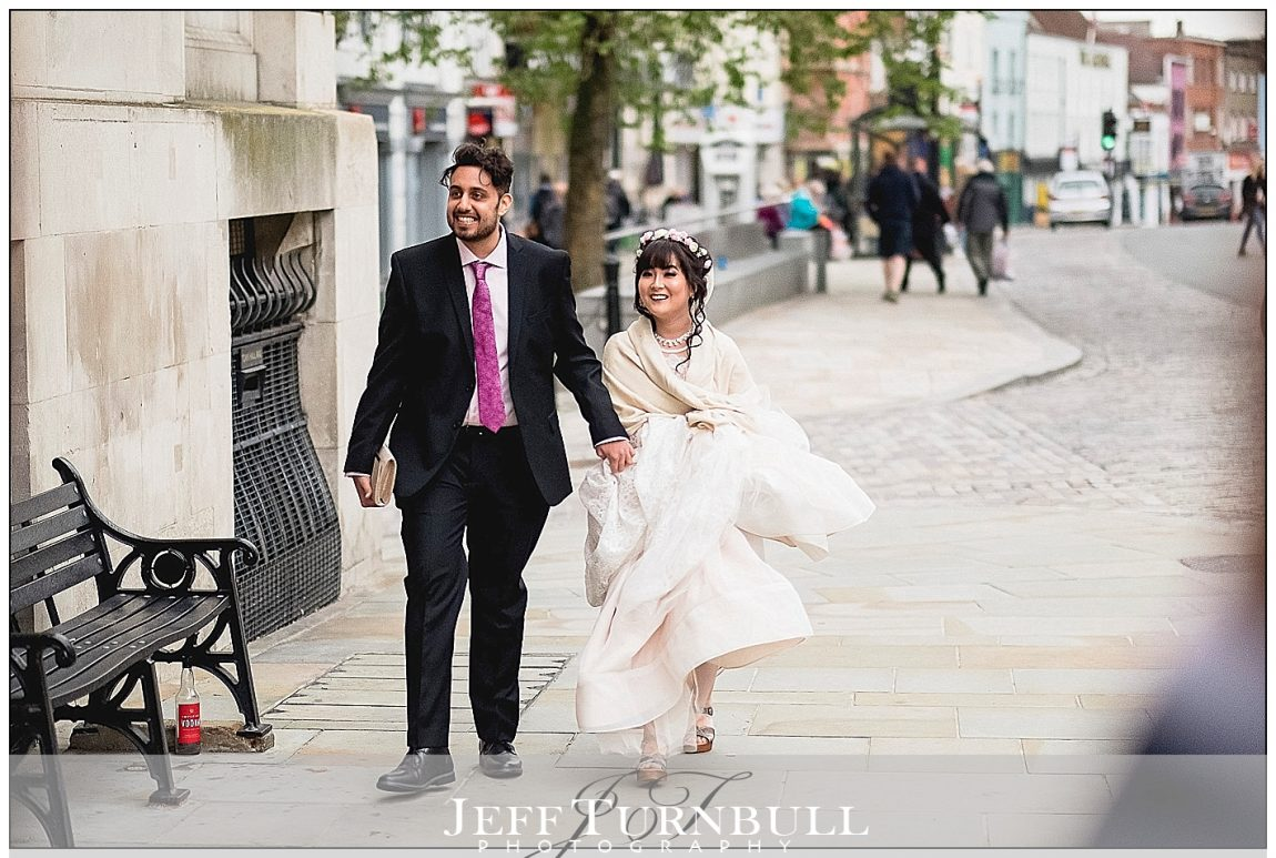 Bride and Groom Arriving at Colchester Town Hall