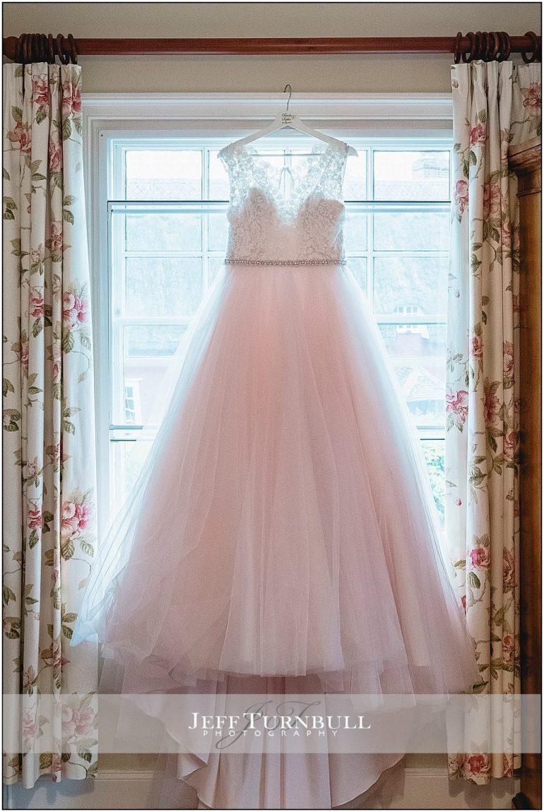 Rose coloured wedding dress