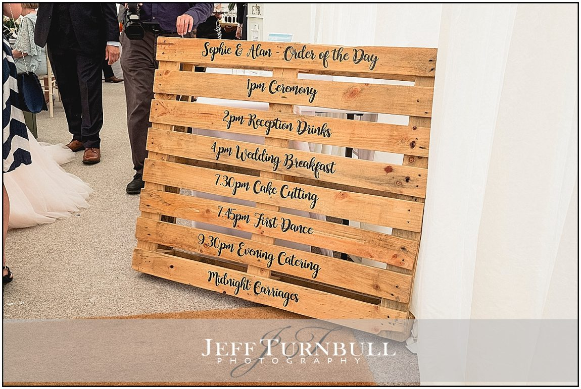 Wedding Order of the Day Sign on a Palette
