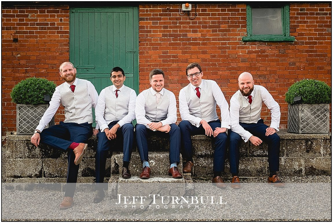 The groomsmen outside Smeeytham Hall Barn
