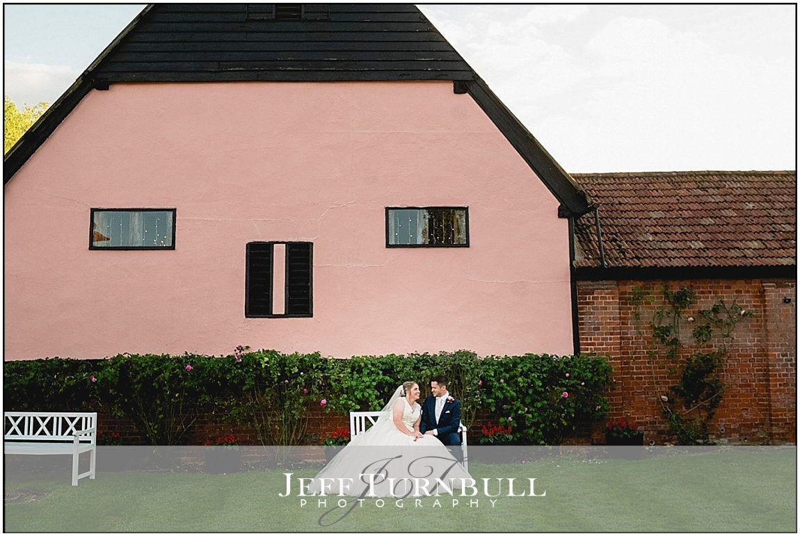 Bride and Groom Outside Smeetham Hall Barn
