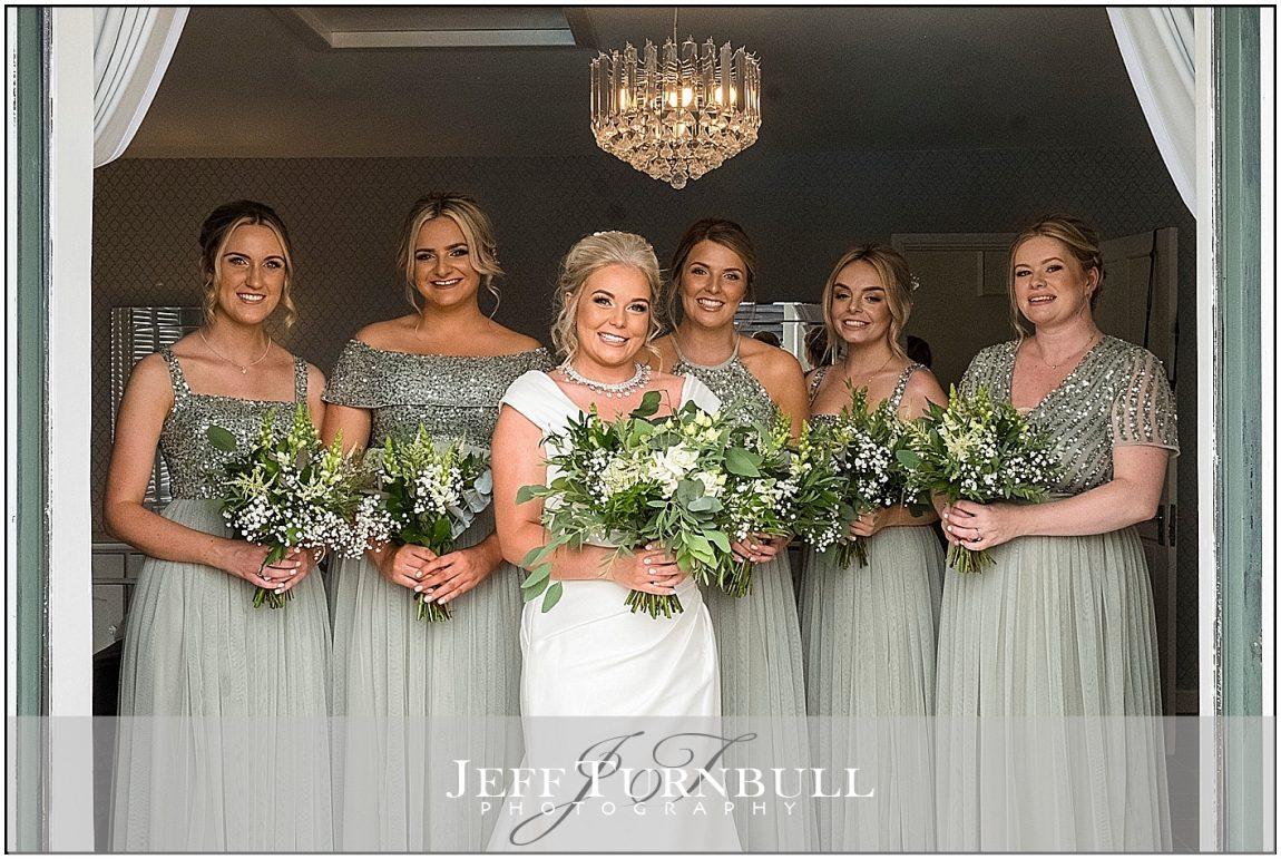 Bride and Brides Maids at Villiers Barn wedding Venue