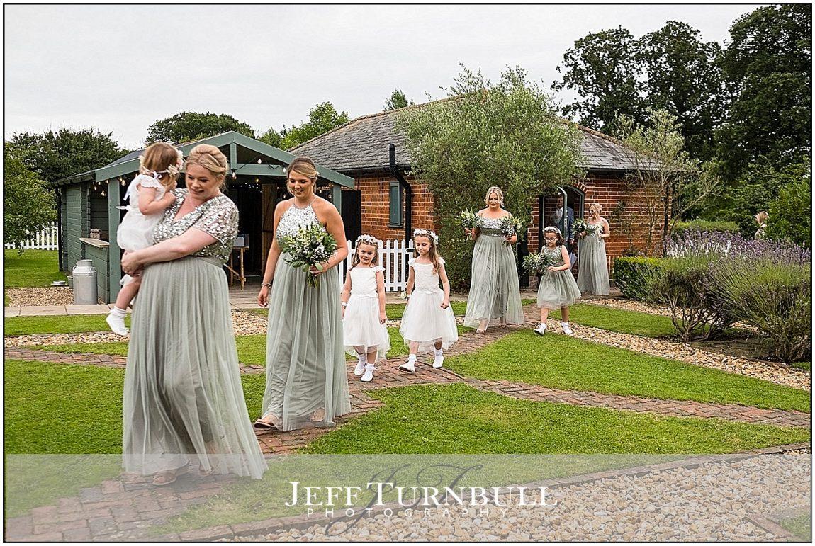 Bridesmaids and Flower Girls Walking