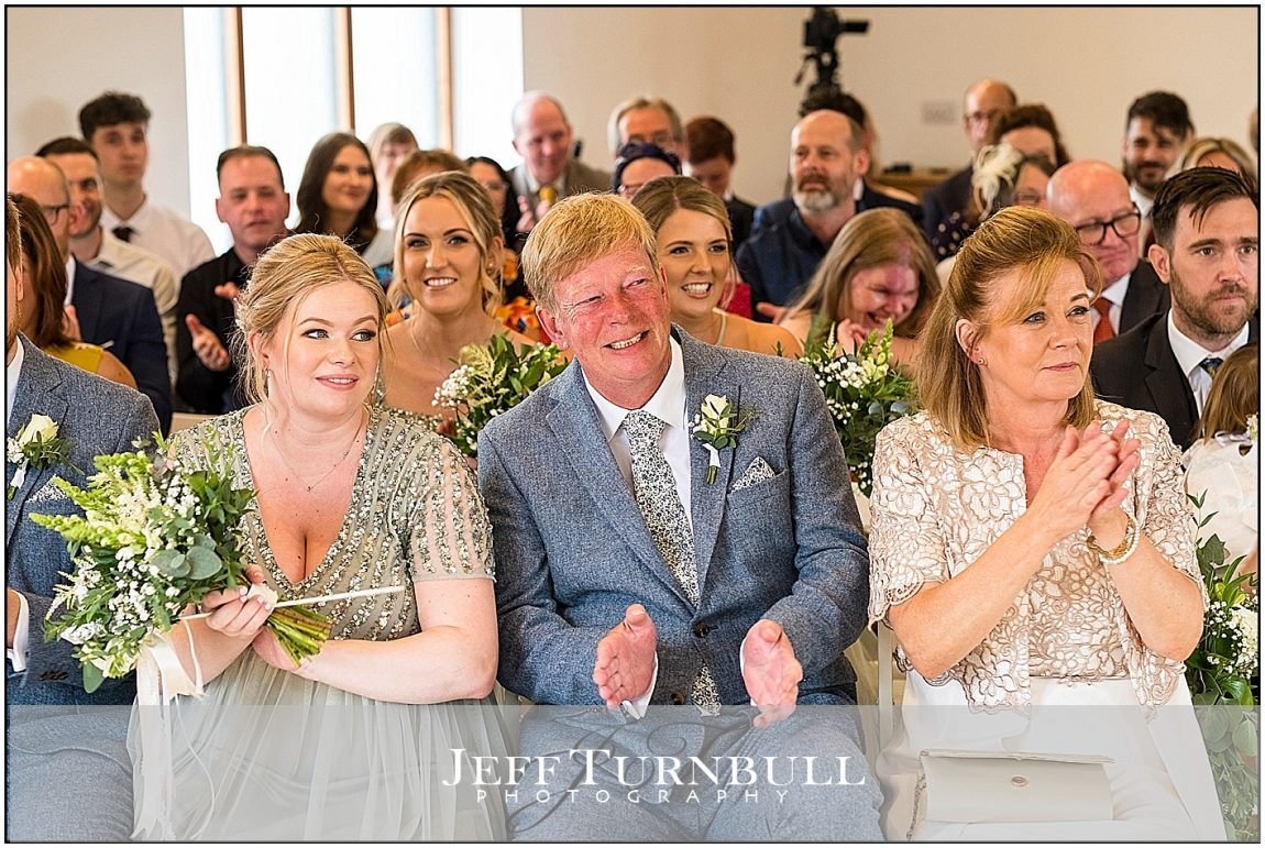 Guests watching Wedding Ceremony at Villers Barn