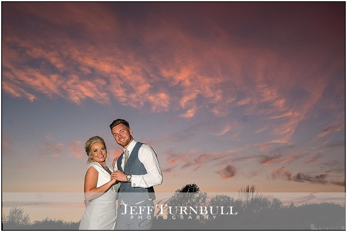 Bride and Groom Sunset Villiers Barn