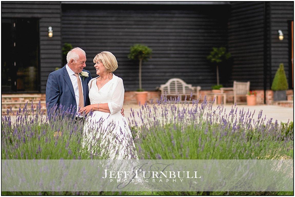 Bride and Groom Form gardens Villiers barn