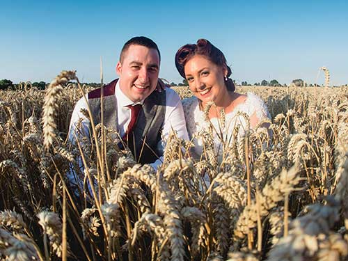 Bride and Groom in an Essex Corn Field