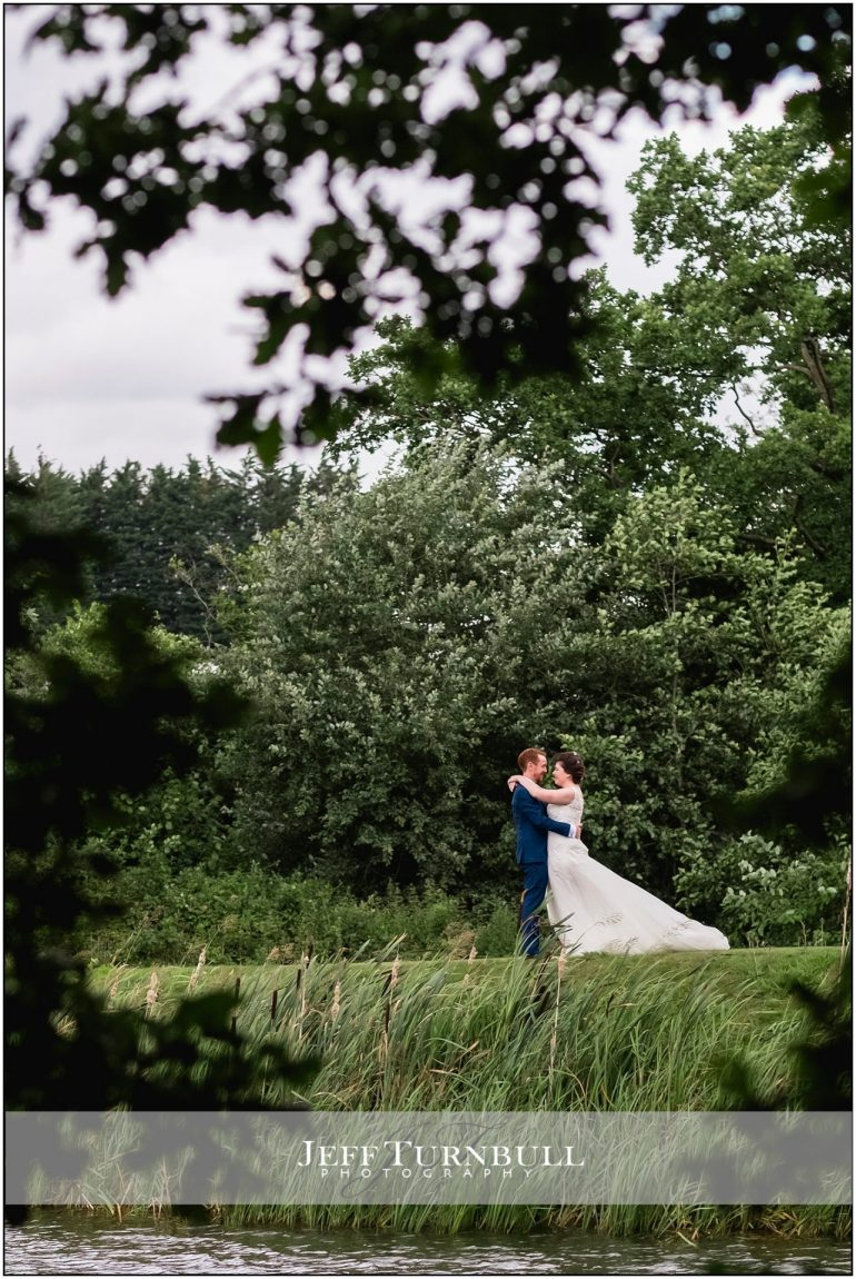 Bride and Groom By the Lake at Stoke by Nayland