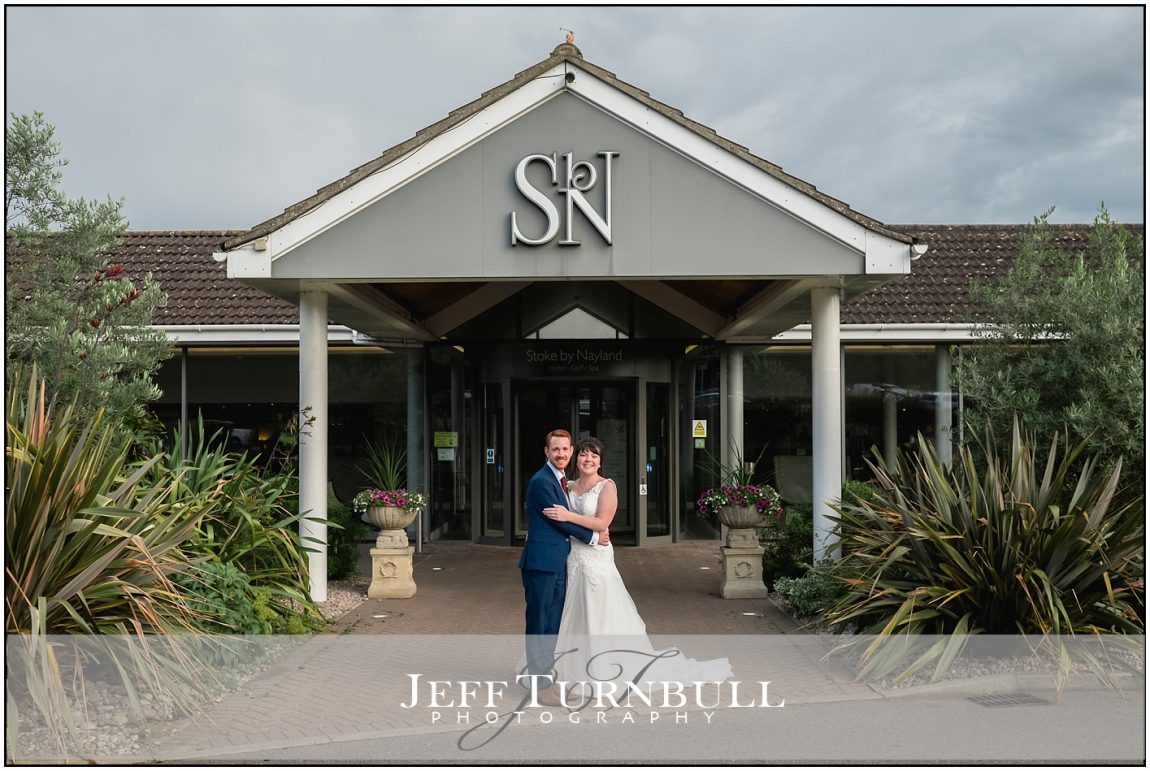 Bride and Groom outside Stoke by Nayland